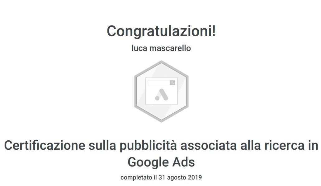 certificazione campagne google ads