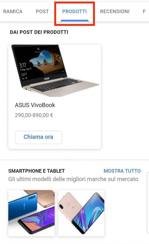 prodotti google my business